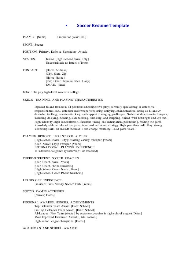 Awesome Soccer Resume Template PLAYER: [Name] Graduation Year: [20   ... Regard To College Soccer Resume