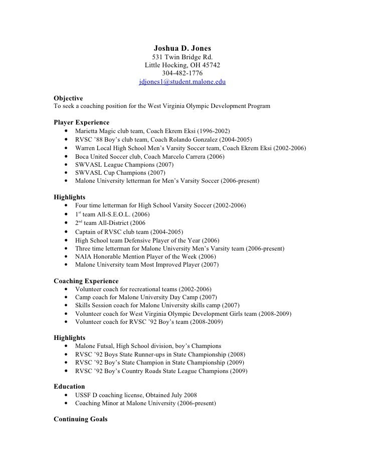 resume for soccer coach
