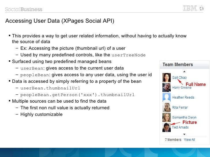 Accessing User Data (XPages Social API)  This provides a way to get user related information, without having to actually ...