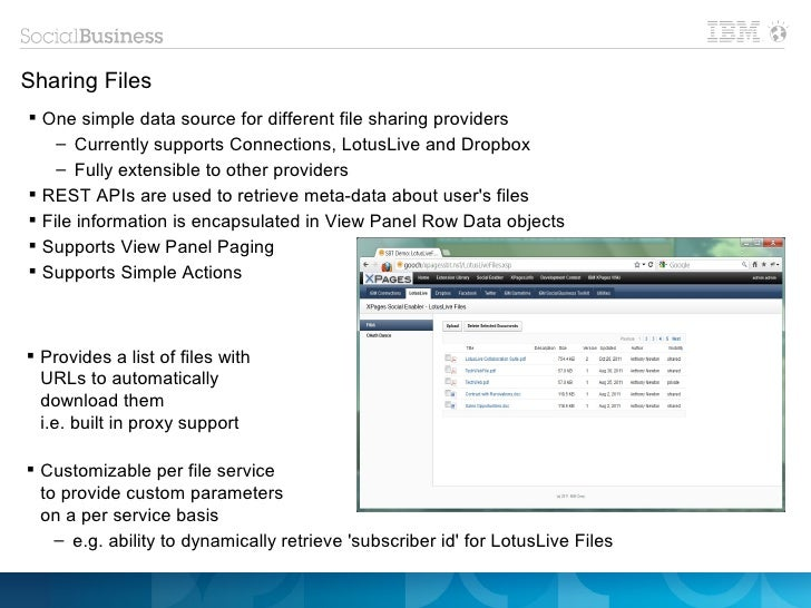 Sharing Files One simple data source for different file sharing providers    – Currently supports Connections, LotusLive ...