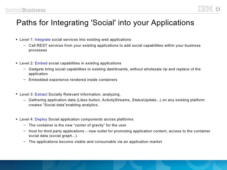 Paths for Integrating Social into your Applications Level 1: Integrate social services into existing web applications    ...