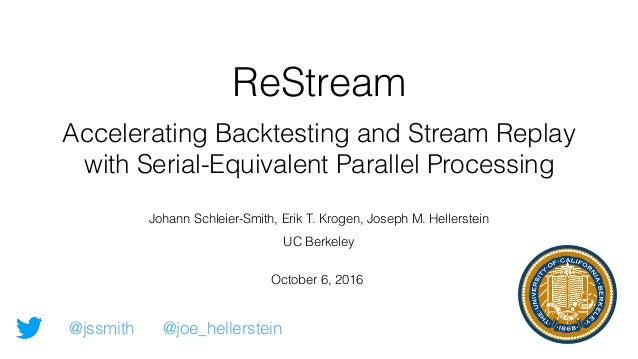 ReStream Accelerating Backtesting and Stream Replay with Serial-Equivalent Parallel Processing October 6, 2016 Johann Schl...