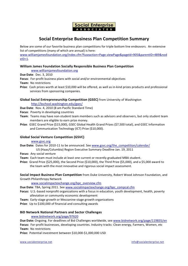 Social Enterprise Competition Summary