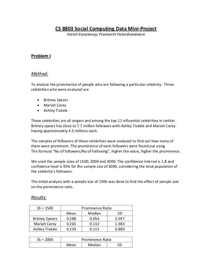 CS 8803 Social Computing Data Mini-Project                      Harish Kanakaraju Prashanth PalanthandalamProblem IMethod:...