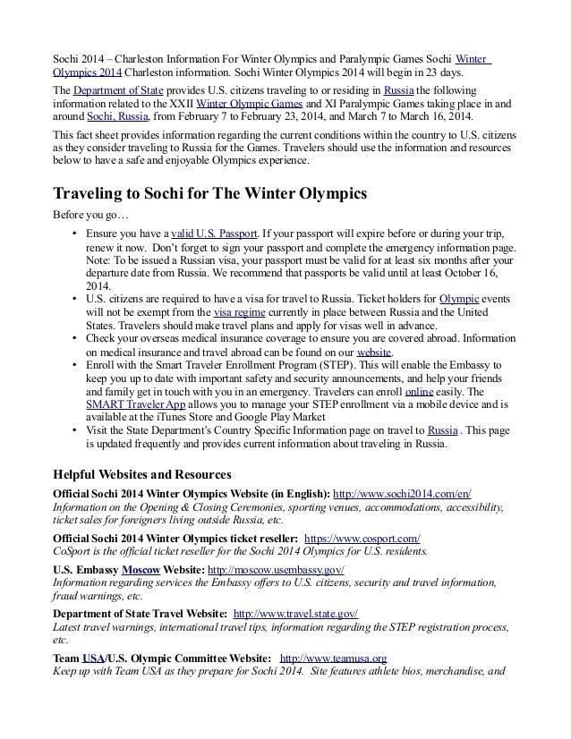 Sochi 2014 – Charleston Information For Winter Olympics and Paralympic Games Sochi Winter Olympics 2014 Charleston informa...