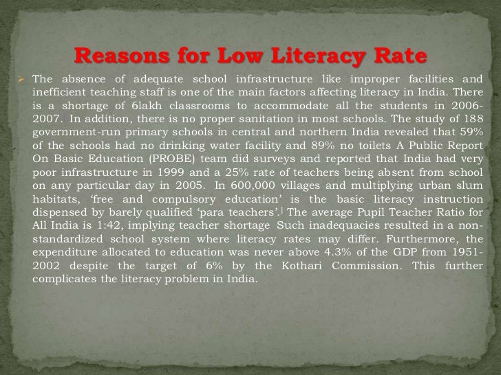 causes of illiteracy It causes illiteracy because it makes people feel being tired of studying and not even listening to the lectures of the teacher this trait is one of the most common and most harmful lastly, poverty is one of the common problems of people in today's society many people today cannot study because they cannot afford the tuition fee of the.