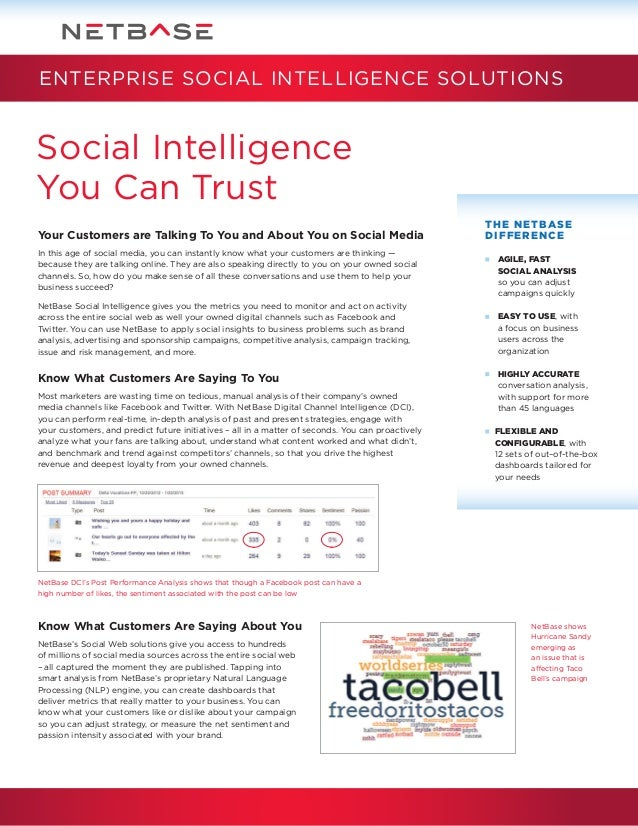 ENTERPRISE SOCIAL INTELLIGENCE SOLUTIONS  Social Intelligence You Can Trust Your Customers are Talking To You and About Yo...