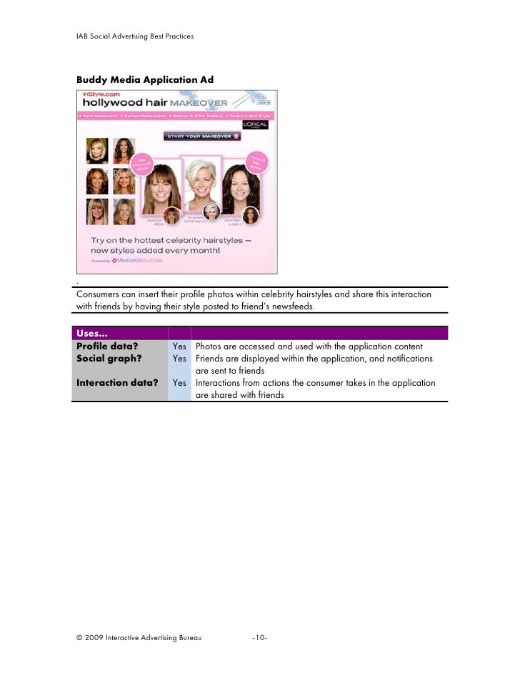 IAB Social Advertising Best Practices     Buddy Media Application Ad     . Consumers can insert their profile photos withi...