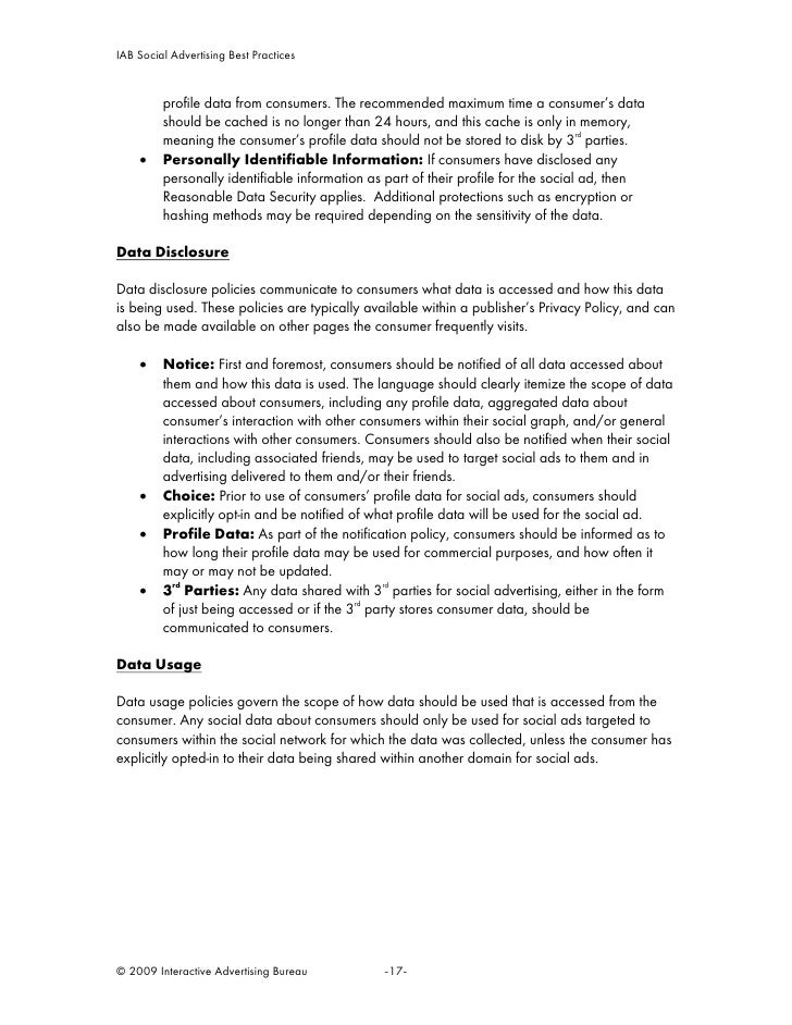 IAB Social Advertising Best Practices            profile data from consumers. The recommended maximum time a consumer's da...