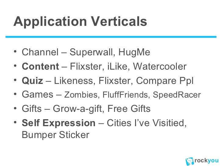 Application Verticals <ul><li>Channel – Superwall, HugMe </li></ul><ul><li>Content  – Flixster, iLike, Watercooler </li></...
