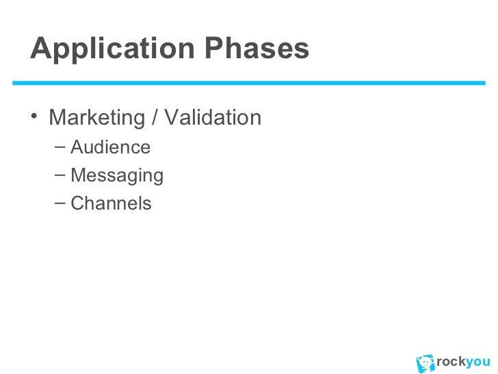 Application Phases <ul><li>Marketing / Validation </li></ul><ul><ul><li>Audience </li></ul></ul><ul><ul><li>Messaging </li...