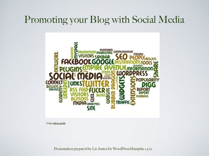 Promoting your Blog with Social Media     Image photo credit            Presentation prepared by Liz Jostes for WordPressM...