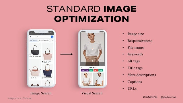 #SMWONE @joelleirvine STANDARD IMAGE OPTIMIZATION Image Search Visual Search • Image size • Responsiveness • File names • ...