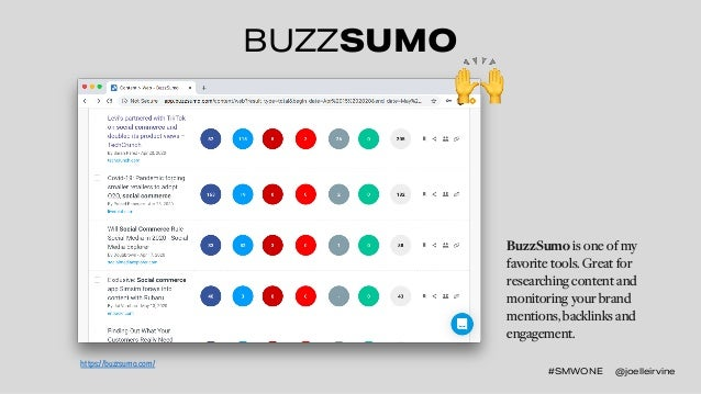 #SMWONE @joelleirvine BUZZSUMO BuzzSumo is one of my favorite tools. Great for researching content and monitoring your bra...