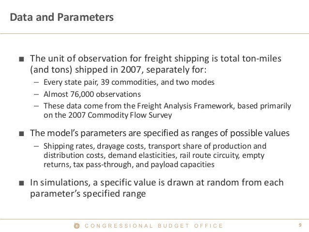 C O N G R E S S I O N A L B U D G E T O F F I C E 9  Data and Parameters  ■  The unit of observation for freight shipping ...