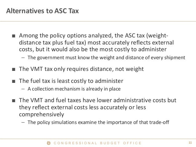 C O N G R E S S I O N A L B U D G E T O F F I C E 11  Alternatives to ASC Tax  ■  Among the policy options analyzed, the A...
