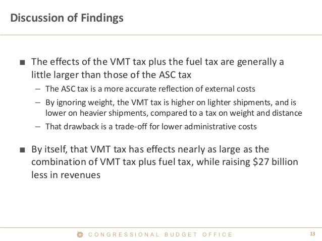 C O N G R E S S I O N A L B U D G E T O F F I C E 13  Discussion of Findings  ■  The effects of the VMT tax plus the fuel ...