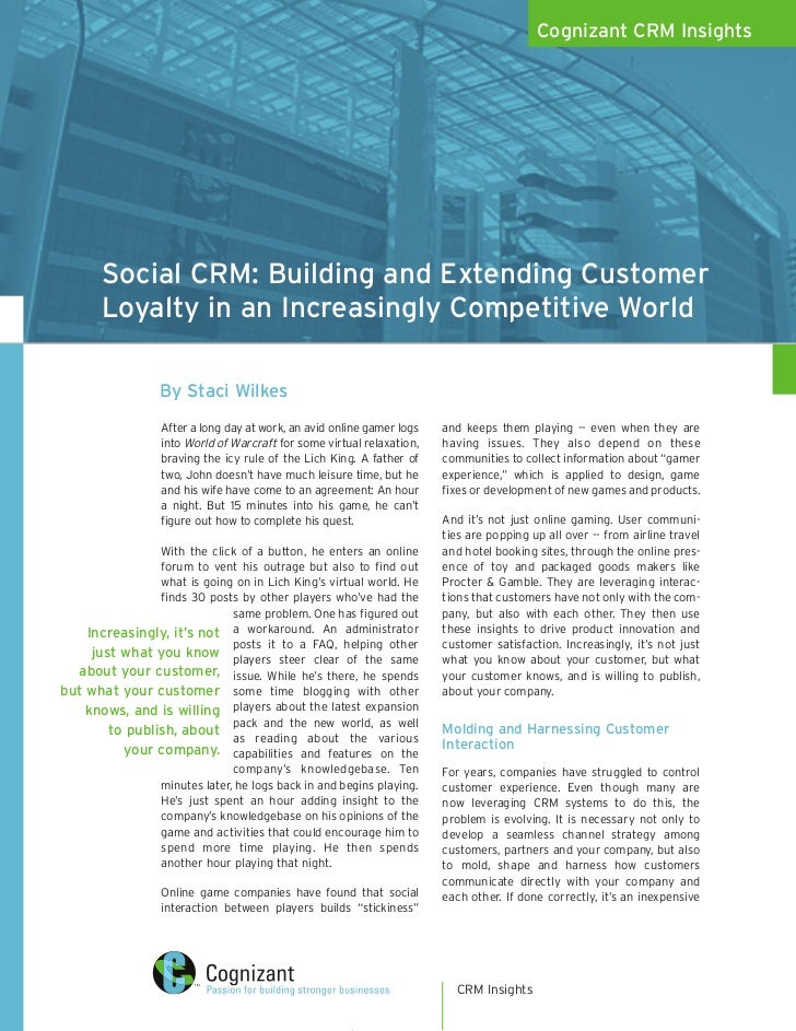 Cognizant CRM Insights            Social CRM: Building and Extending Customer        Loyalty in an Increasingly Competitiv...