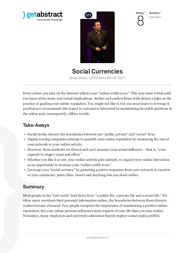 Rating 8 Qualities Applicable Social Currencies Brian Solis   Lift Events Sàrl © 2011 Every action you take on the Interne...