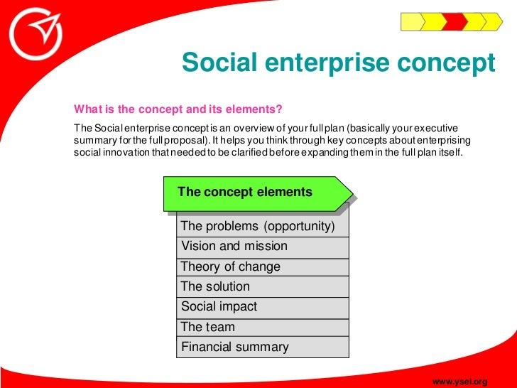 Social enterprise concept What is the concept and its elements? The Social enterprise concept is an overview of your full ...