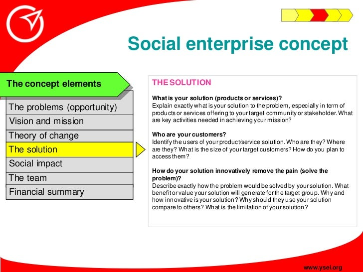 Social enterprise concept                                THE SOLUTION The concept elements                                ...