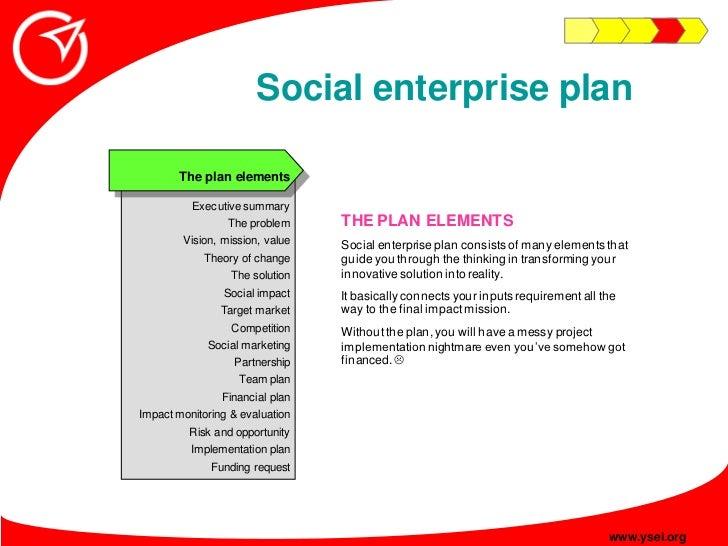 Social enterprise plan         The plan elements            Executive summary                                  THE PLAN EL...