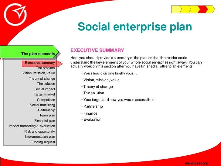 Social enterprise plan                                  EXECUTIVE SUMMARY        The plan elements                        ...