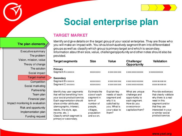 Social enterprise plan                                  TARGET MARKET                                  Identify and give d...