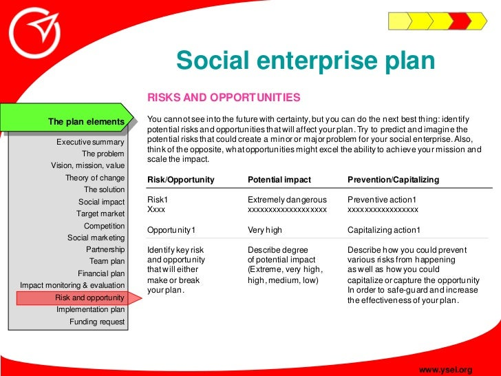 Social enterprise plan                                  RISKS AND OPPORTUNITIES                                  You canno...