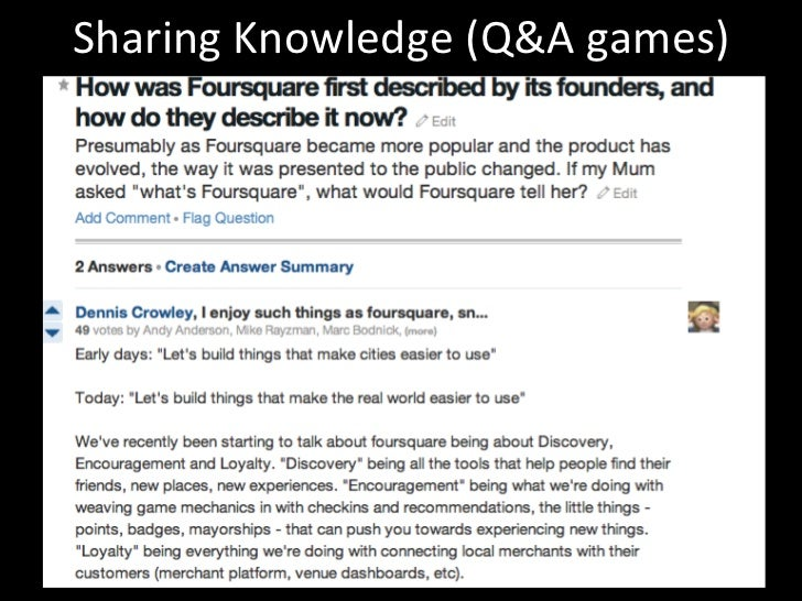 Sharing Knowledge (Q&A games)