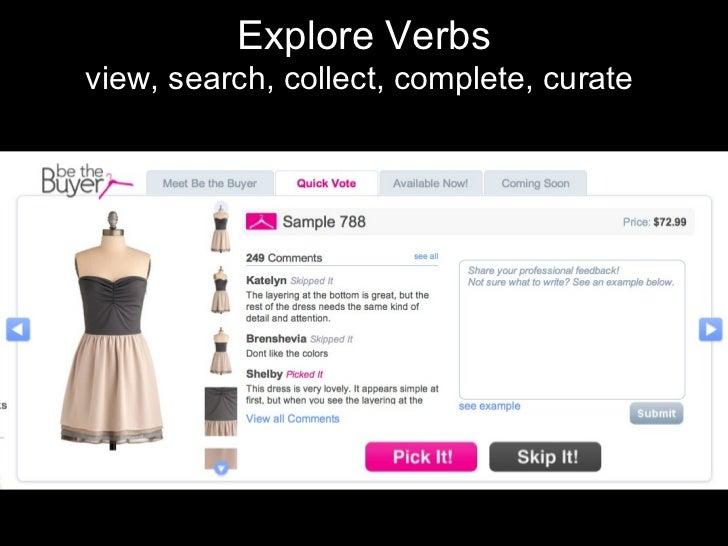 Explore Verbs view, search, collect, complete, curate
