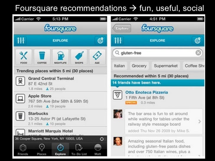 Foursquare recommendations    fun, useful, social