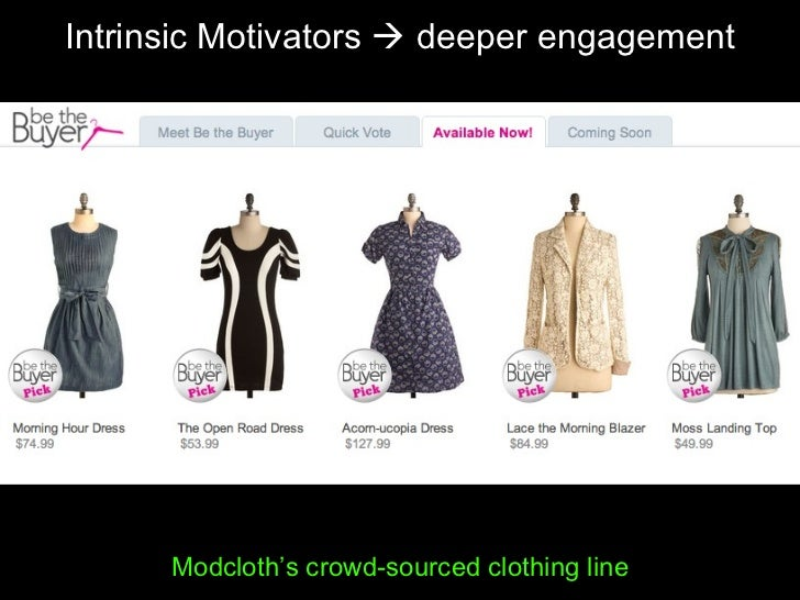 Intrinsic Motivators    deeper engagement Modcloth's crowd-sourced clothing line
