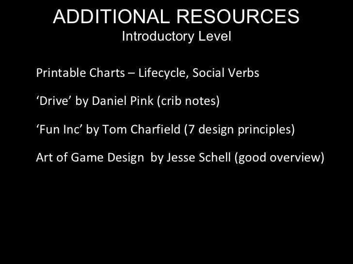 ADDITIONAL RESOURCES Introductory Level Printable Charts – Lifecycle, Social Verbs ' Drive' by Daniel Pink (crib notes) ' ...
