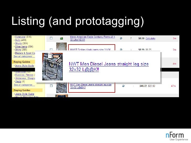 Listing (and prototagging)