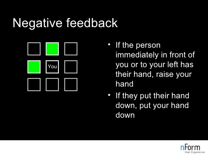 Negative feedback <ul><li>If the person immediately in front of you or to your left has their hand, raise your hand </li><...