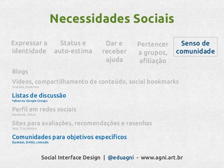 Interface SocialFoco na interação entre       pessoas