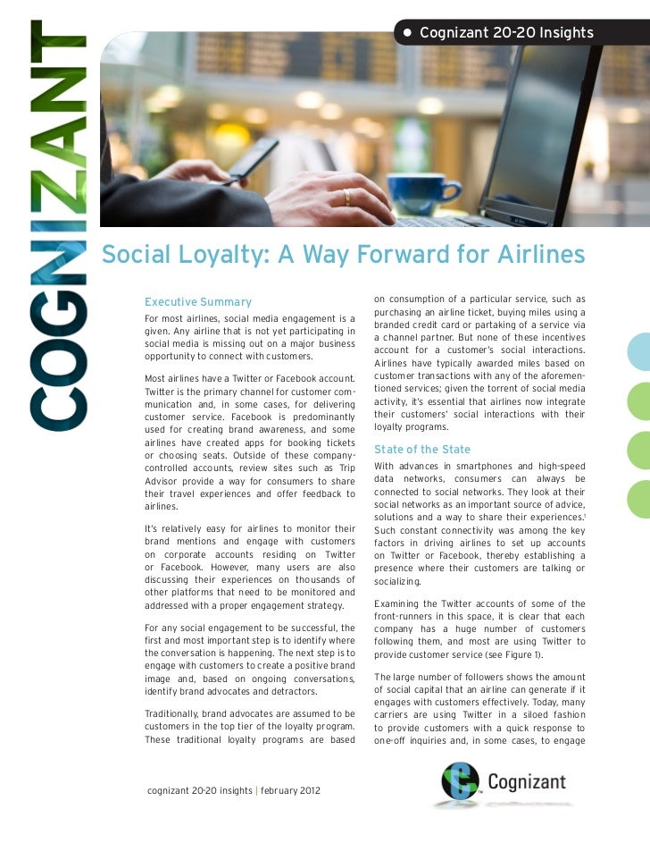 • Cognizant 20-20 InsightsSocial Loyalty: A Way Forward for Airlines   Executive Summary                                  ...