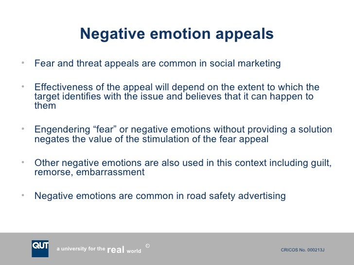 fear appeals in social marketing Messages using fear appeals often appear in social marketing, to promote causes such as smoking cessation, healthcare and driving accident prevention fear appeals can enhance the effectiveness of such communications, but they also may have unintended side effects.