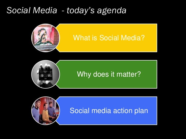 Social Media - today's agenda                  What is Social Media?                      Why does it matter?             ...