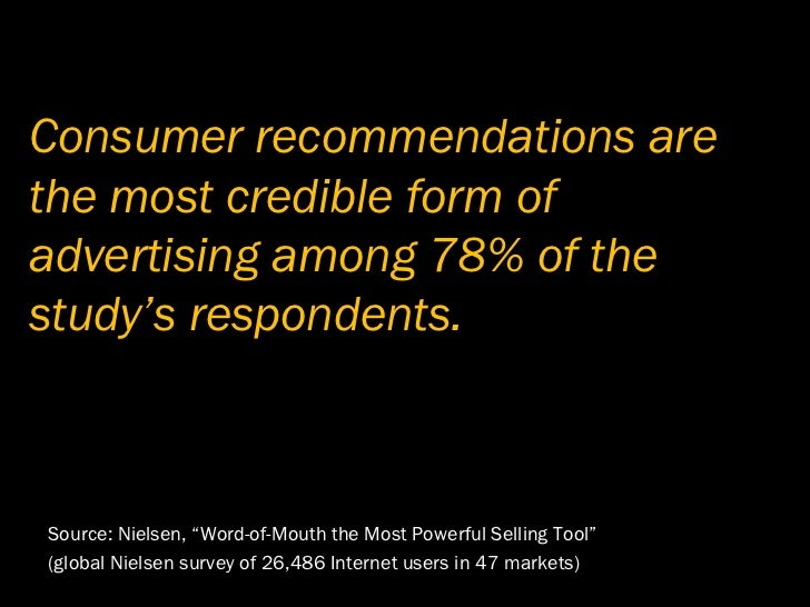 Consumer recommendations are the most credible form of advertising among 78% of the study's respondents.    Source: Nielse...