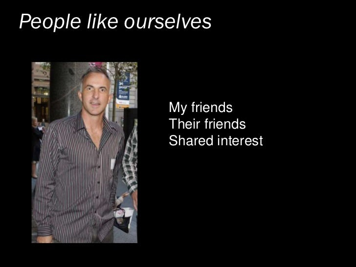 People like ourselves                   My friends                 Their friends                 Shared interest