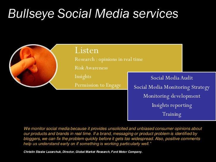 Bullseye's Social Media Action Plan                   Listen                  Engage                 Influence