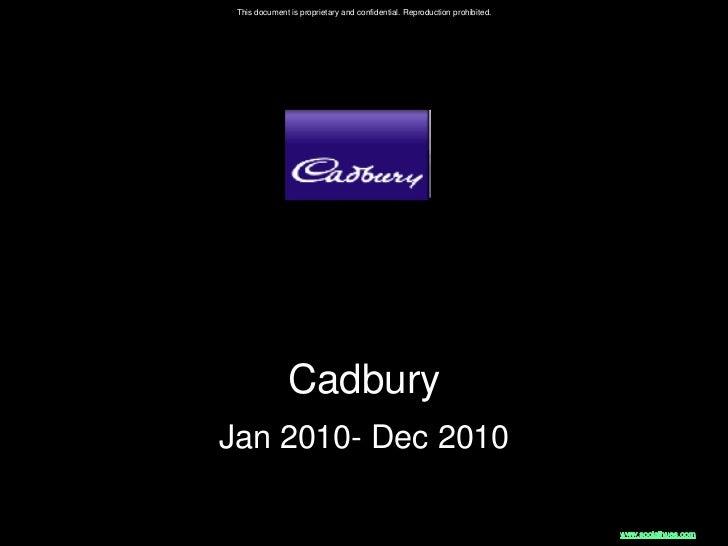 This document is proprietary and confidential. Reproduction prohibited.               CadburyJan 2010- Dec 2010