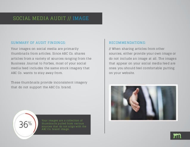 SOCIAL MEDIA AUDIT // IMAGE Your images are a collection of thumbnails pulled from various sources that do not align with ...