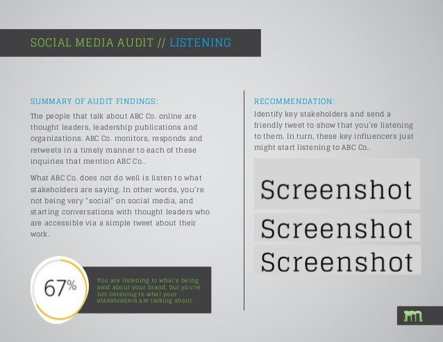 SUMMARY OF AUDIT FINDINGS: SOCIAL MEDIA AUDIT // LISTENING You are listening to what's being said about your brand, but yo...
