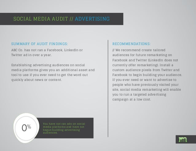 SOCIAL MEDIA AUDIT // ADVERTISING You have not ran ads on social media platforms and have not begun building advertising a...