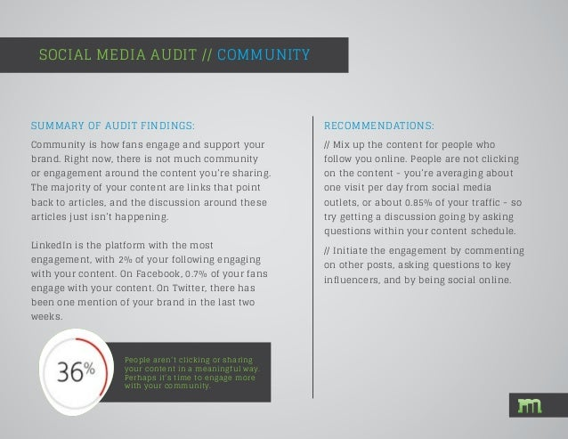 SOCIAL MEDIA AUDIT // COMMUNITY People aren't clicking or sharing your content in a meaningful way. Perhaps it's time to e...
