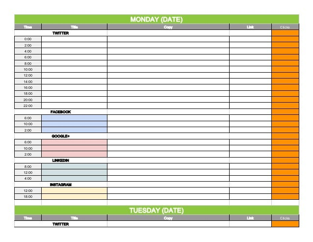Social Media Content Calendar Template Via Hootsuite. MONDAY (DATE) Time  Title Copy Link Clicks TWITTER 0:00 2:00 ...
