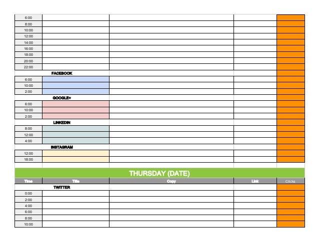 Social Media Content Calendar Template via Hootsuite